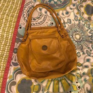 Mustard yellow vegan leather handbag